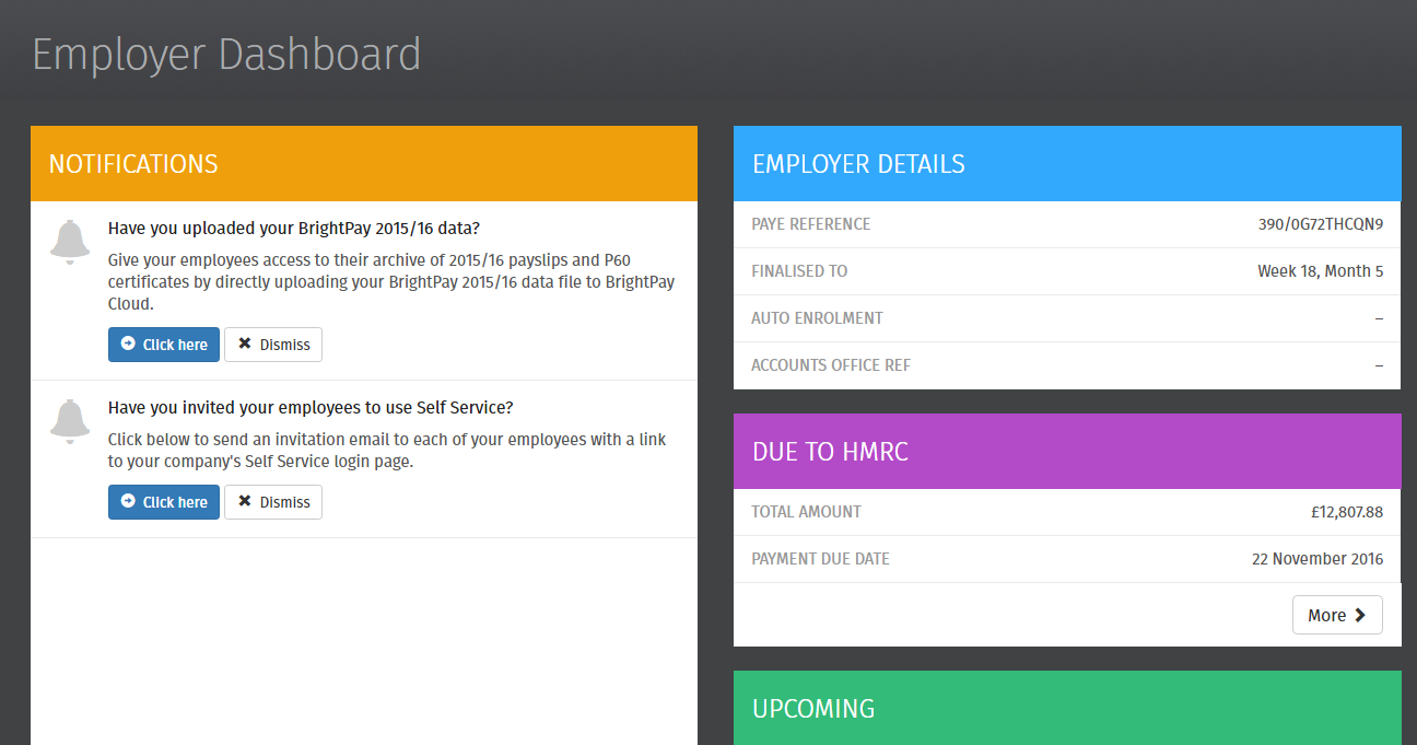 Online Payroll Back Up Employer Self Service Dashboard Brightpay