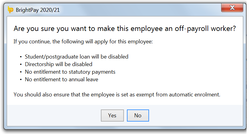 Off-Payroll Work in BrightPay